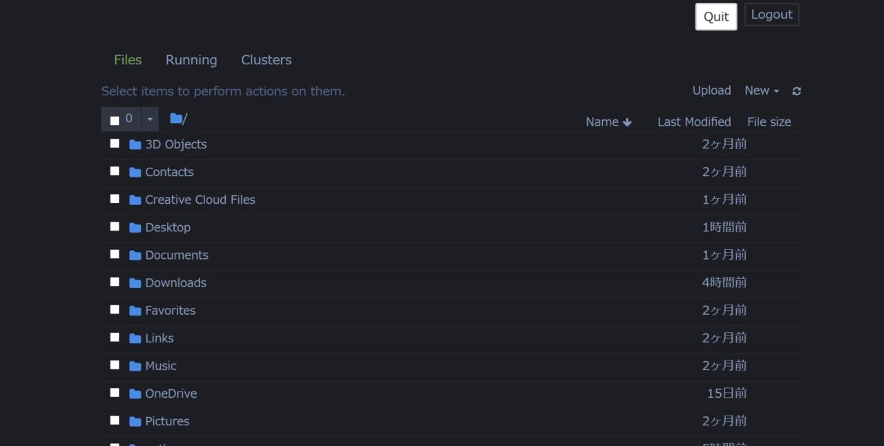 Jupyter Notebookカスタマイズ後の操作画面