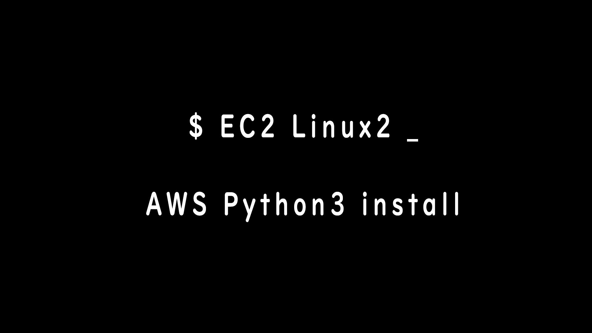 AWSのEC2Linux2を操作してPython3をインストールする方法